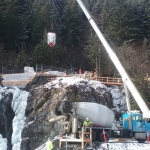 Lowell Cr-2018 M2C1 Const used crane and bucket to dump concrete into carts to transport into tunnel.